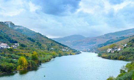 Douro river, wineyards and villages with cloudy sky. Porto province. Portugal