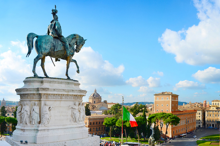 View of Rome from Victor Emmanuel II monument. Italy
