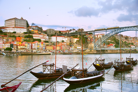 luis: Traditional Porto wine boats in front of Porto Old Town. Portugal