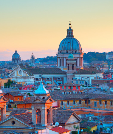 View of a beautiful Rome Old Town at twilight. Italy