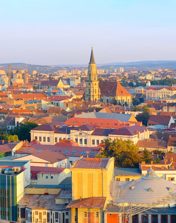 View of Cluj-Napoca Old Town at sunset. Romania Stock fotó