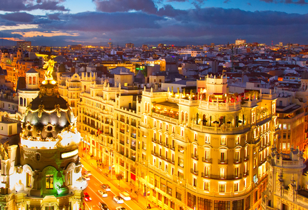 View of city center of Madrid at twilight. Spain