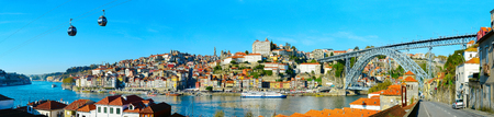 Panoramic view of Porto with cable car and boats on Douro river. Portugal