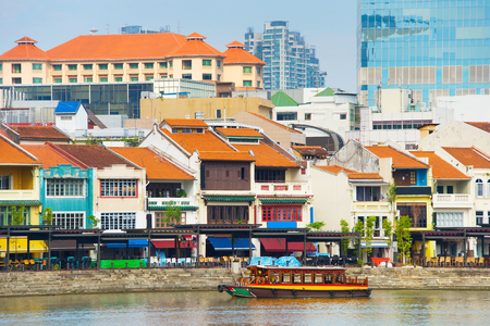 View of famous Boat Quay - historical city part of Singapore
