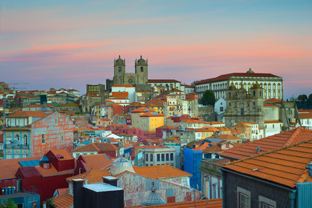 tourist site: View of Ribeira - the Old Town of Porto. Portugal Stock Photo