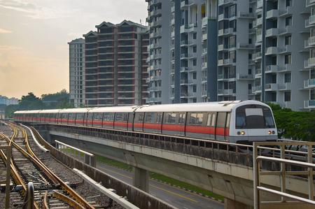 Modern subway train on a railroad in Sinapore