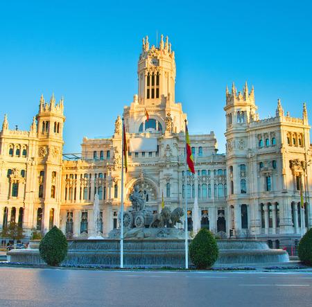 palacio de comunicaciones: Madrid Cybeles Square (Plaza de la Cibeles) and Madrid Central Post Office (Palacio de Comunicaciones) in Madrid, Spain.