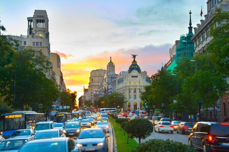 View of Madrid city center overcrowded by cars at sunset. Spain Stock Photo