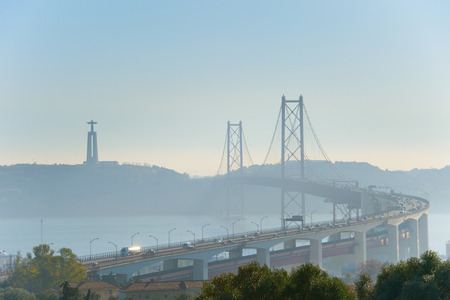 Gorgeous 25 April bridge and Christ the King monument. Lisbon, Portugal