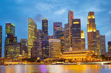 Gorgeous Singapore Downtown Core at twilight Stock Photo