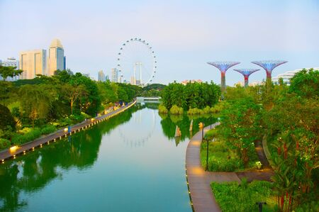 View of Singapore from a tropical park at Gardens by the Bay and Singapore Flyer on background