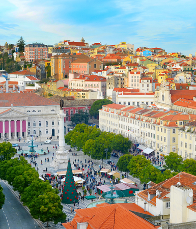 Aerial view of Rossio square in Old Town of Lisbon, Portugal