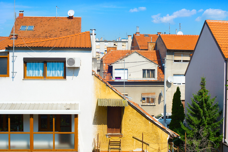 Architecture of typical living apatment district of Zagreb, Croatia Stock Photo