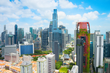 Skyline of Singapore Downtown Core in the daytime Stock Photo