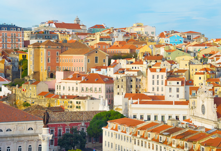 View of Old Town of Lisbon with monument of the king Pedro IV. Portugal