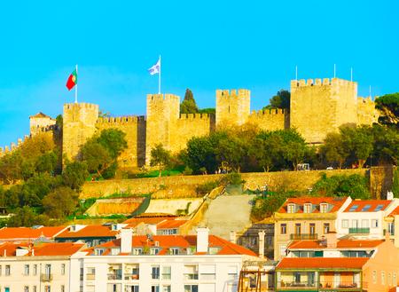Famous Lisbon Castle on a top of a hill. Lisbon, Portugal