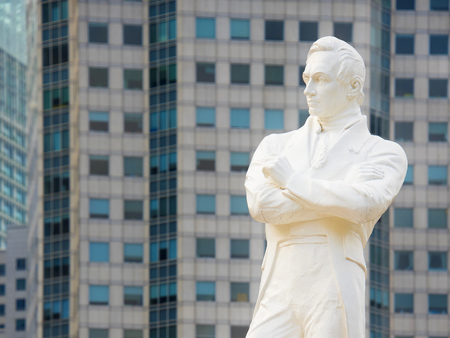 Statue of Sir Tomas Stamford Raffles - the founder of the city of Singapore Editorial