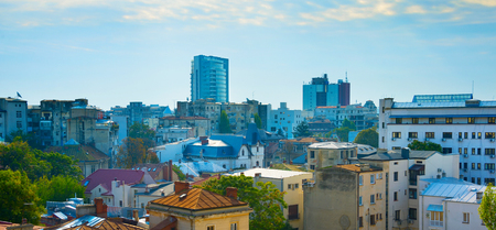 Panoram of city center architecture of Bucharest in the sunny day. Romania Stock Photo