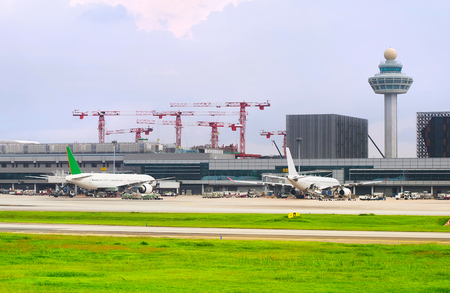 Changi International Airport construction site. Singapore.