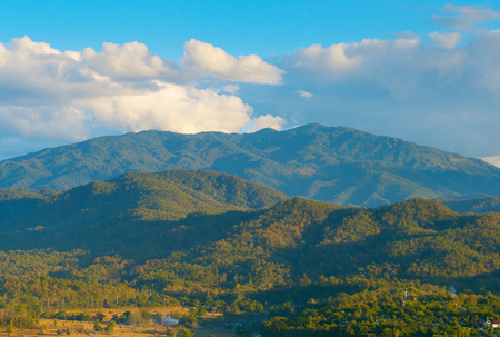 Landscape with mountains and rice fields. Pai, Thailand