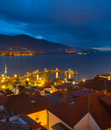 Ohrid Old Town, port and lake at night. Macedonia Stock Photo