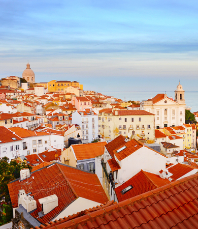 View of Lisbon Old Town at sunset. Portugal