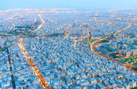 Aerial view of Tehran at sunset, Iran