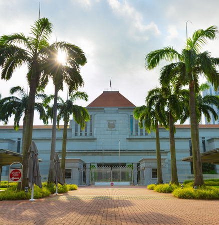 Singapore Parliament building, front view. Morning light