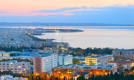 Aerial view of Thessaloniki at twilight. Greece