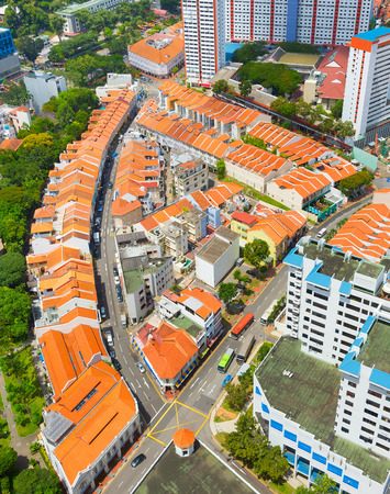 Aerial view Singapore Chinatown district in the daytime