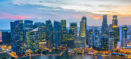 Aerial panoram of Singapore Downtown at night.