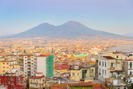 Skyline of beautiful Naples at twilight. Aerial view. Italy Editorial