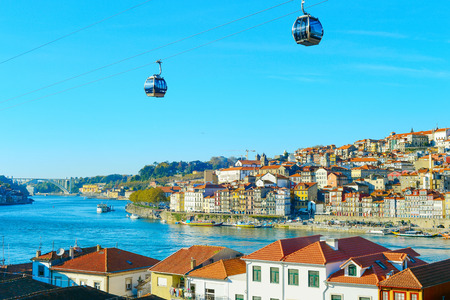 Cityscape of Porto Old Town with cable car in the foreground. Portugal 免版税图像