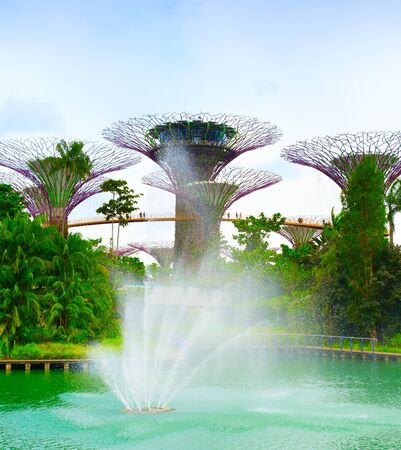 SINGAPORE - FEBRUARY 18, 2017: Scenic lview of modern futuristic Singapore Gardens by the Bay