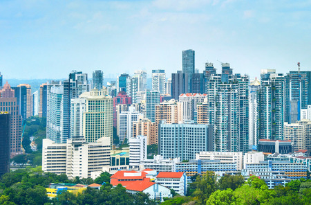Aerial view of modern residential city district, Singapore