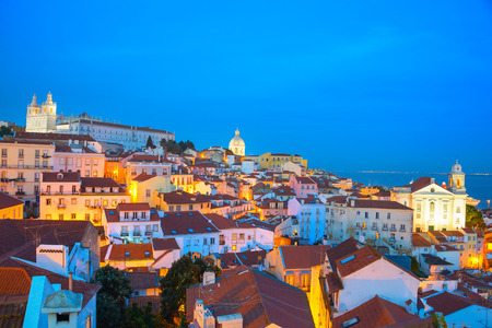 Skyline of Alfama - Lisbon Old Town at twilight, Portugal
