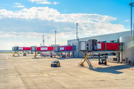 Airport runway, terminal building with gangways, Larnaca, Cyprus