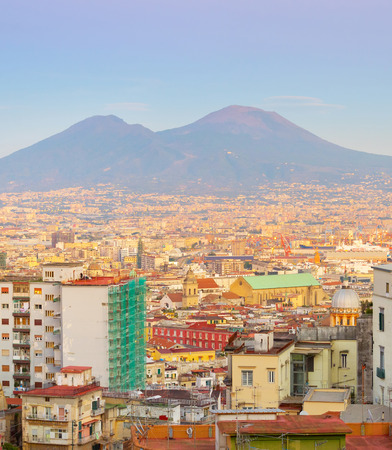 Skyline of beautiful Naples at twilight. Aerial view. Italy Stock Photo