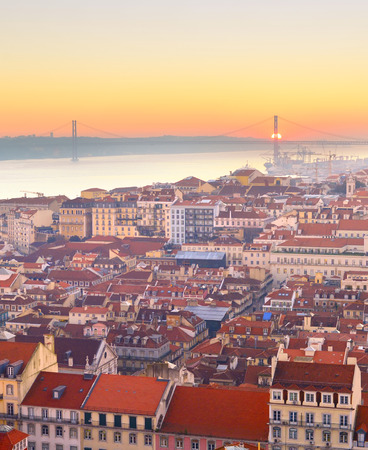 Skyline of Lisbon at sunset. Aerial view. Portugal