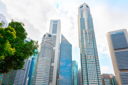 Modern skyscrapers of Singapore Downtown Core, bottom view