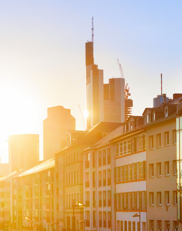 Frankfurt old town architecture in evening sunlight, Germany