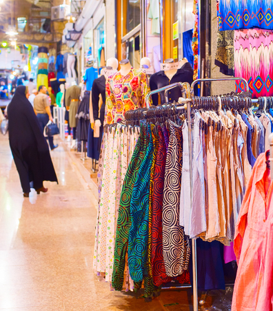 Skirts and dresses at Tehran Grand Bazaar, Iran