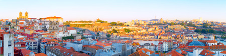 Panoramic view of Ribeira - Porto Old Town and Villa Nova de Gaia at sunset. Portugal 版權商用圖片