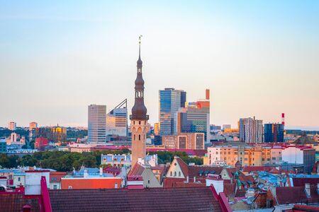 Aerail cityscape of Tallinn downtown in sunset light, Estonia