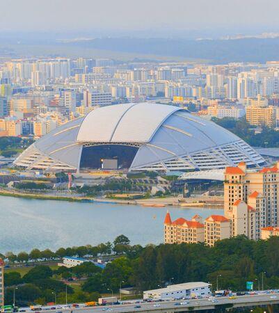 National stadium of Singapore. Aerial view at sunset