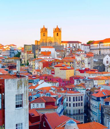 Sunset view of Porto Old Town with Porto Cathedral on top. Portugal 版權商用圖片