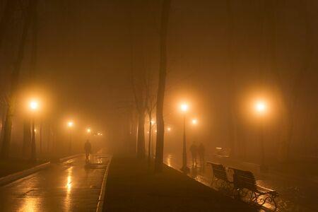 People walk by foggy park alley in th evening. Kyiv, Ukraine Stock fotó