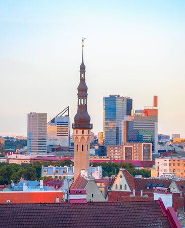 Aerail cityscape of Tallinn downtown in sunset light, Estonia