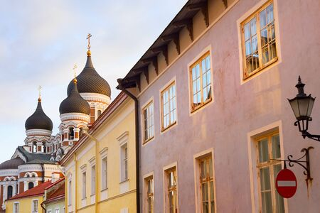Old Town street leading to Alexander Nevsky Cathedral. Talinn, Estonia