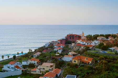 Aerial view of typical Madeira island village at twilight. Paul do Mar, Madeira, Portugal